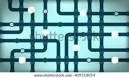 Wallpaper of cross pipeline on turquoise background