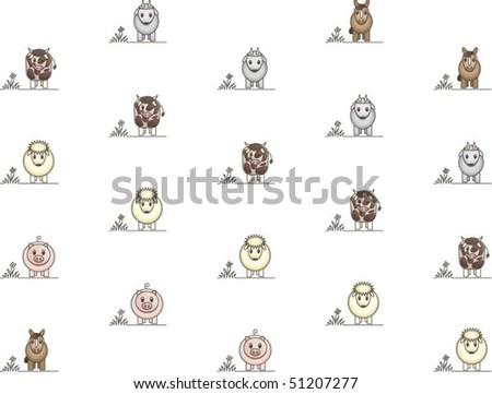 Wallpaper of farm animals - stock vector
