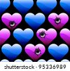 wallpaper of hearts with bullet holes - stock vector