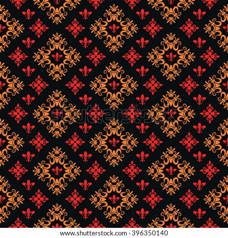 wallpaper pattern, damask, seamless pattern, vector illustration