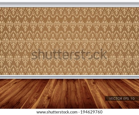 Wallpaper Pattern Wall With Decorative White Moldings Wooden Board Floor