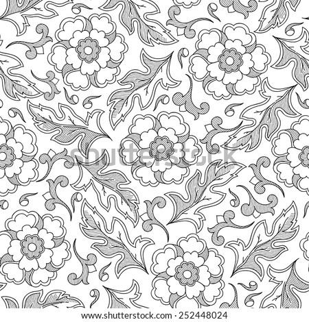 wallpaper seamless vintage flower pattern - stock vector