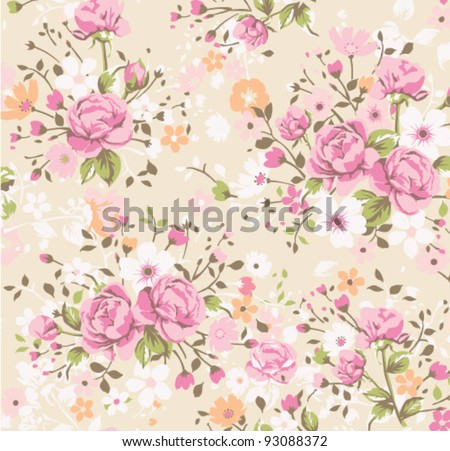wallpaper vintage rose pattern - stock vector