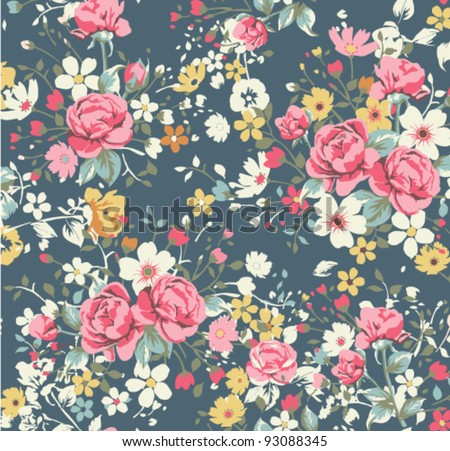 wallpaper vintage rose pattern on navy background - stock vector
