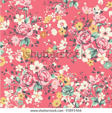 wallpaper vintage rose pattern on red background - stock vector