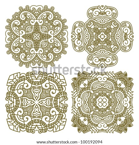 Wallpaper with aztec ornament in gold colors, design element