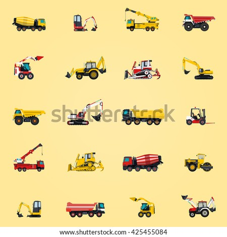 Wallpaper with construction machinery yellow set. Ground works background. Machine vehicles. Excavator, truck, digger, crane, bagger, mix, lorry. Heavy pavement foundation. Master vector illustration. - stock vector
