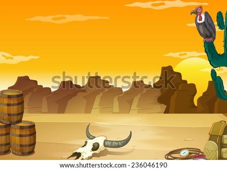 Wallpaper with desert scene in yellow color - stock vector