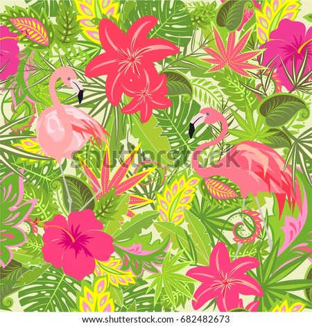 Wallpaper With Exotic Flowers Tropical Leaves And Flamingo For Fabric Textile Wrapping Paper