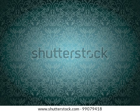 Wallpaper With Floral and curves Seamless Pattern on Gradient Background - stock vector