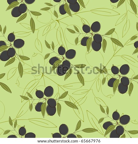 Wallpaper with olives - stock vector