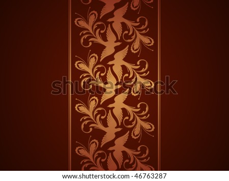 Wallpaper with phoenix ornament. Vector illustration - stock vector