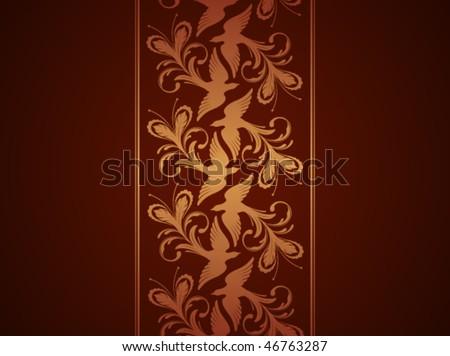 Wallpaper with phoenix ornament. Vector illustration - stock vector
