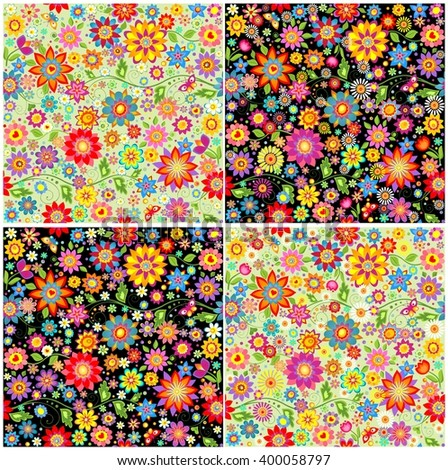 Wallpapers with colorful abstract funny flowers