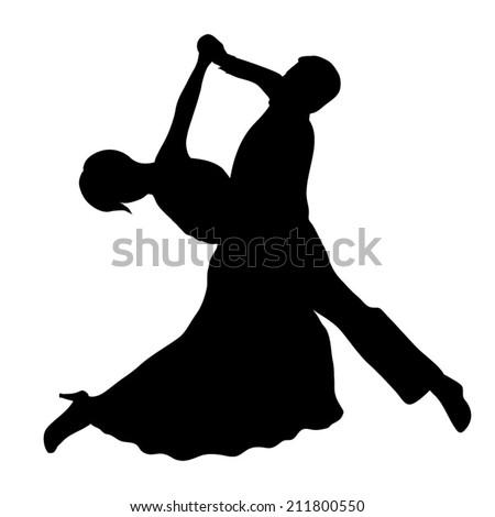 waltz. Dancing couple silhouette - stock vector