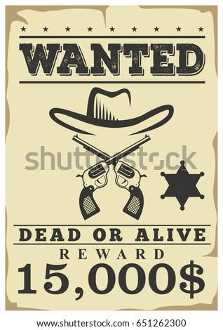 Wanted Dead Alive Retro Western Wild Stock Vector (2018) 651262300 ...