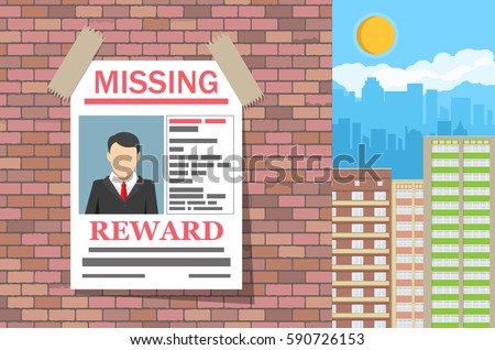 Wanted Man Paper Poster. Missing Announce On Brick Wall. Search For Lost  Person In  Lost Person Poster