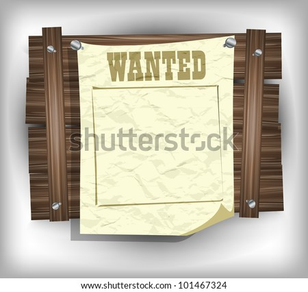 Wanted paper frame eps10 - stock vector