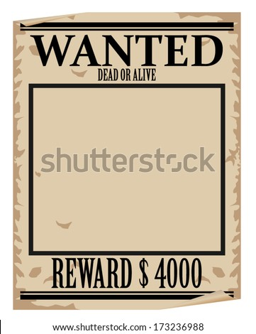 Wanted Poster Template Stock Vector 173236988 - Shutterstock