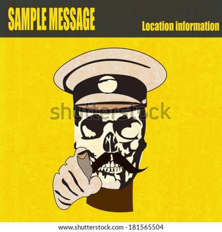 Wanted, vector illustration in the style of a First World War recruiting poster with skull in military uniform - stock vector