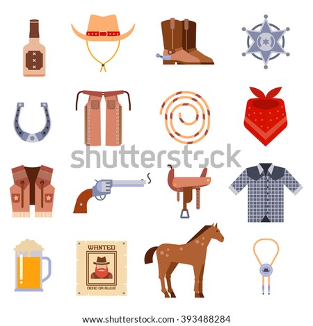 Wanted vintage western cowboys icons, western vector  signs and western cowboy american symbols. Vintage American old western designs sign and cowboy cartoon icons illustration.  - stock vector