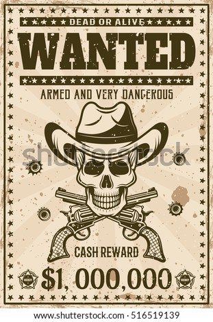 wanted pirate poster template - wanted vintage western poster template cowboy stock vector