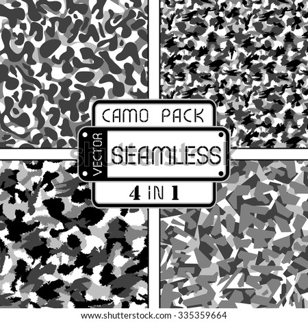 War black and white urban camouflage pack 4 in 1 seamless vector pattern. Can be used for wallpaper, pattern fills, web page background, surface textures. Vector illustration - stock vector