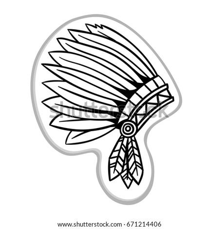 War Bonnet Native American Indian Headdress Stock Vector 671214406 ...