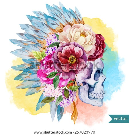 war bonnet, watercolor, skull, boho, Indian, feathers, flowers - stock vector