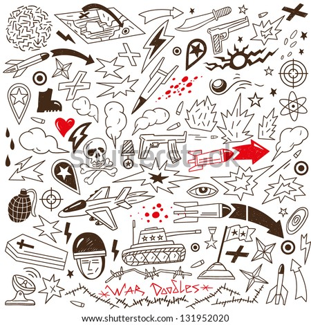 war - doodles collection - stock vector