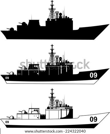 War Military Ship vector illustration. - stock vector