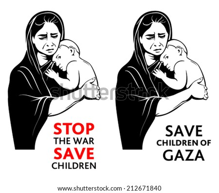 War refugees mother with a little baby asking for peace - stock vector