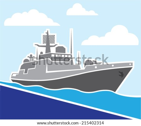 War Ship - stock vector