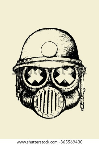 War SkullUnusual Cartoon Style Skull With Gas Mask And Helmetcoloring Book Illustration