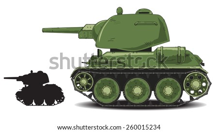 War Tank cartoon - stock vector