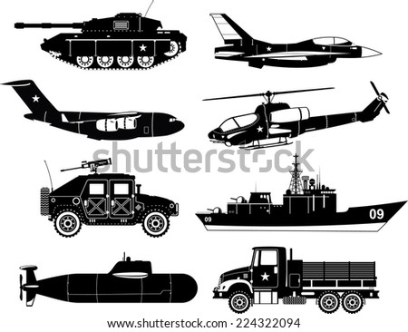 War Vehicles Black & White Vector illustration. - stock vector