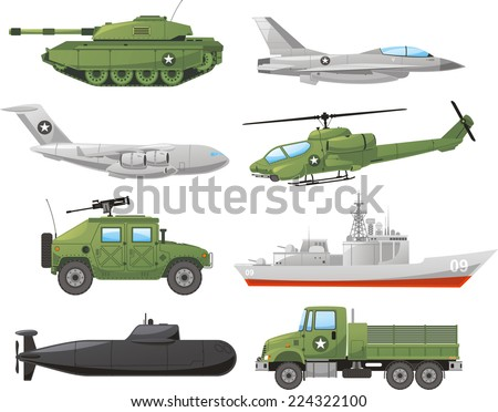 War Vehicles Color Set vector illustration. - stock vector