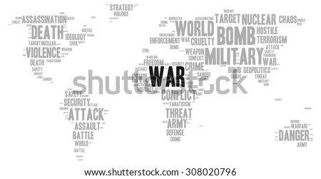 War word cloud shape world map stock vector hd royalty free war word cloud in a shape of world map silhouette gumiabroncs Choice Image