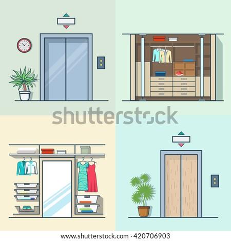 Wardrobe Dressing Room Interior Indoor Elevator Entrance Door Hall Lift Corridor Set Linear Multicolor Stroke