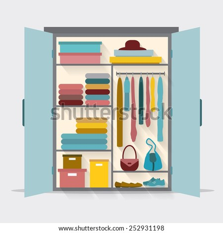 Wardrobe for cloths. Closet with clothes, bags, boxes and shoes. - stock vector