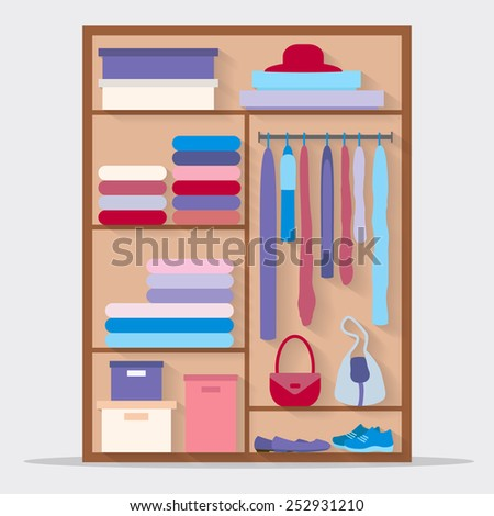 Wardrobe for cloths. Closet with clothes, bags, boxes and shoes. Flat style vector illustration. - stock vector