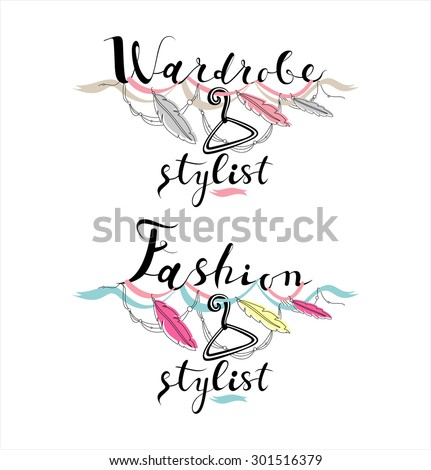 wardrobe stylist vector logo set calligraphy stock vector 301516379 rh shutterstock com Hair Stylist Silhouette Vector Art Hair Stylist Silhouette Vector Art