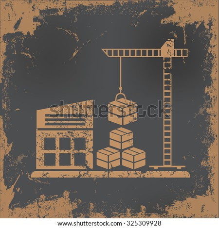 Warehouse, cargo design on old paper background, vector - stock vector