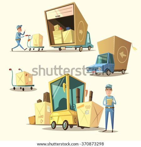 Warehouse concept set with retro cartoon shipping and delivery items isolated vector illustration - stock vector