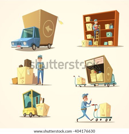 Warehouse concept set with retro cartoon truck and cargo boxes isolated vector illustration - stock vector
