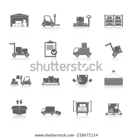 Warehouse distribution and logistics service icons black set isolated vector illustration - stock vector