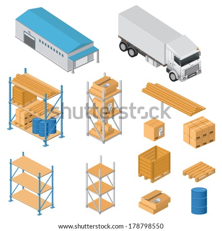Warehouse equipment icons - stock vector