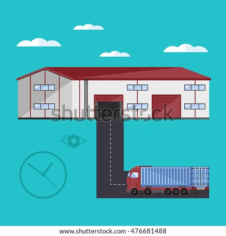 Warehouse exterior with container truck flat vector illustration