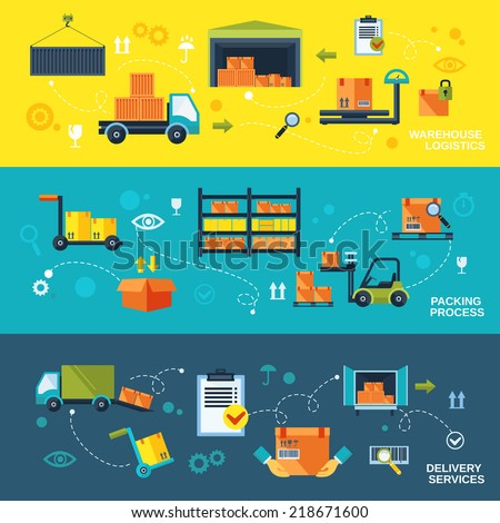 Warehouse flat banners set of logistics packing process delivery services isolated vector illustration - stock vector