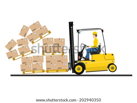 Warehouse forklift with fork extensions on a white background. Vector  - stock vector